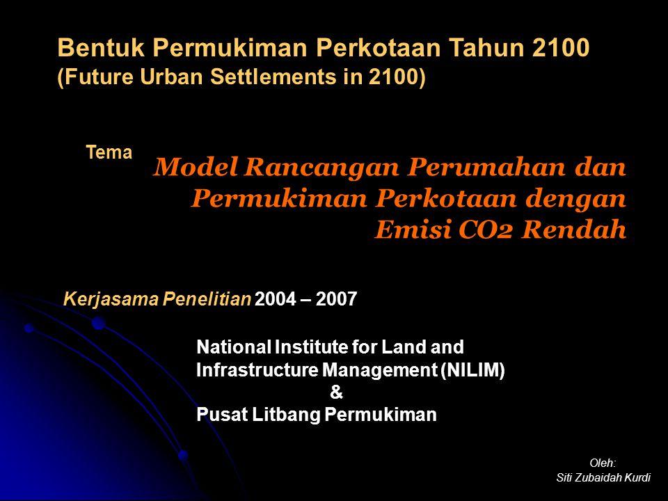 Kerjasama Penelitian 2004 – 2007 National Institute for Land and Infrastructure Management (NILIM) & Pusat Litbang Permukiman Model Rancangan Perumahan dan Permukiman Perkotaan dengan Emisi CO2 Rendah Oleh: Siti Zubaidah Kurdi Bentuk Permukiman Perkotaan Tahun 2100 (Future Urban Settlements in 2100) Tema
