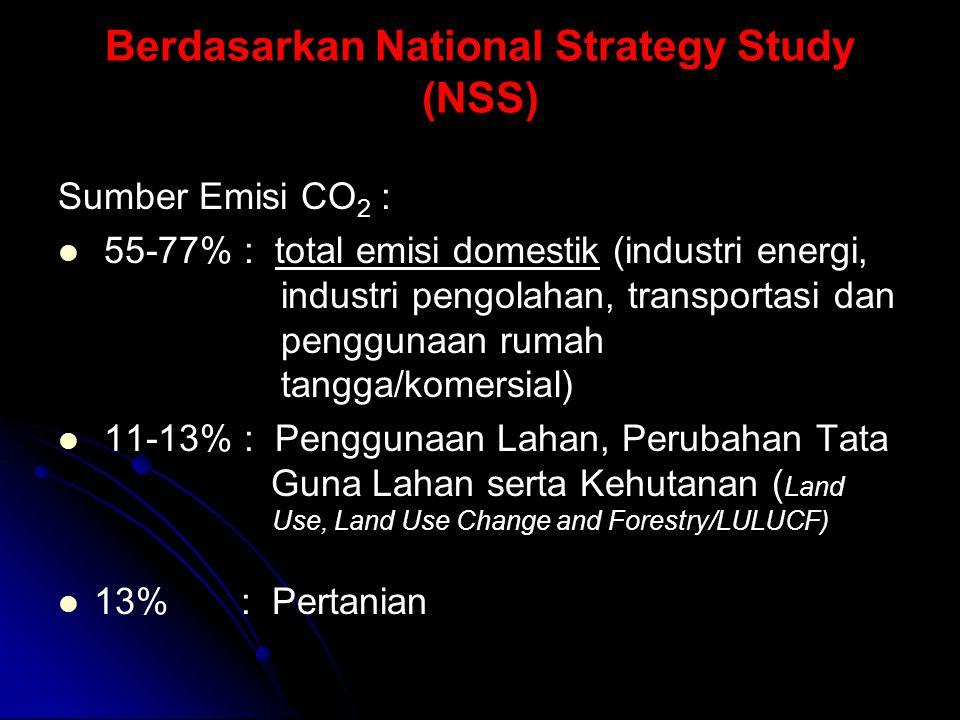 Berdasarkan National Strategy Study (NSS) Sumber Emisi CO 2 : 55-77% : total emisi domestik (industri energi, industri pengolahan, transportasi dan penggunaan rumah tangga/komersial) 11-13% : Penggunaan Lahan, Perubahan Tata Guna Lahan serta Kehutanan ( Land Use, Land Use Change and Forestry/LULUCF) 13% : Pertanian