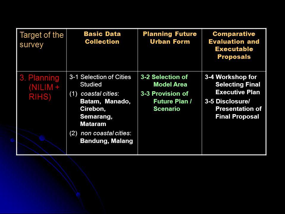 Target of the survey Basic Data Collection Planning Future Urban Form Comparative Evaluation and Executable Proposals 3. Planning (NILIM + RIHS) 3-1 S