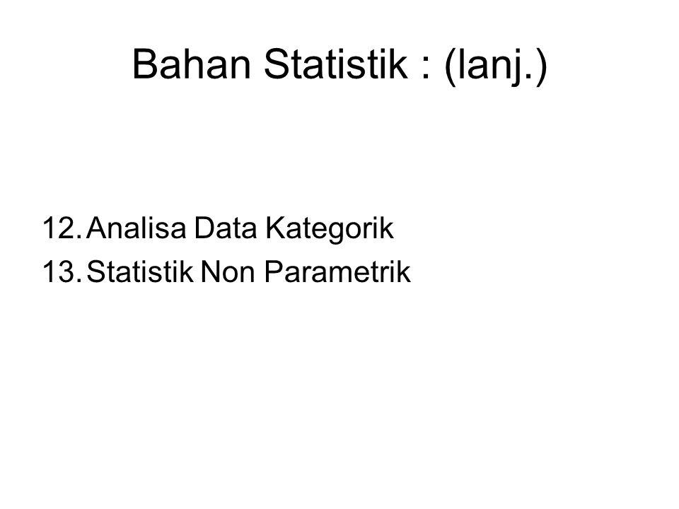 Bahan Statistik : (lanj.) 12.Analisa Data Kategorik 13.Statistik Non Parametrik