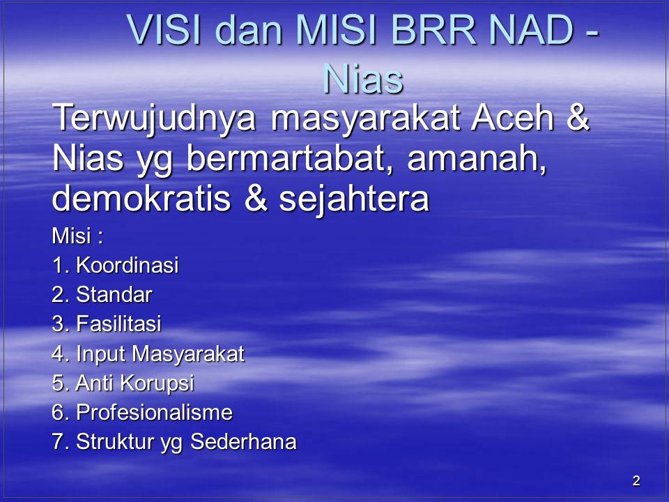 2 VISI dan MISI BRR NAD - Nias Terwujudnya masyarakat Aceh & Nias yg bermartabat, amanah, demokratis & sejahtera Misi : 1. Koordinasi 2. Standar 3. Fa