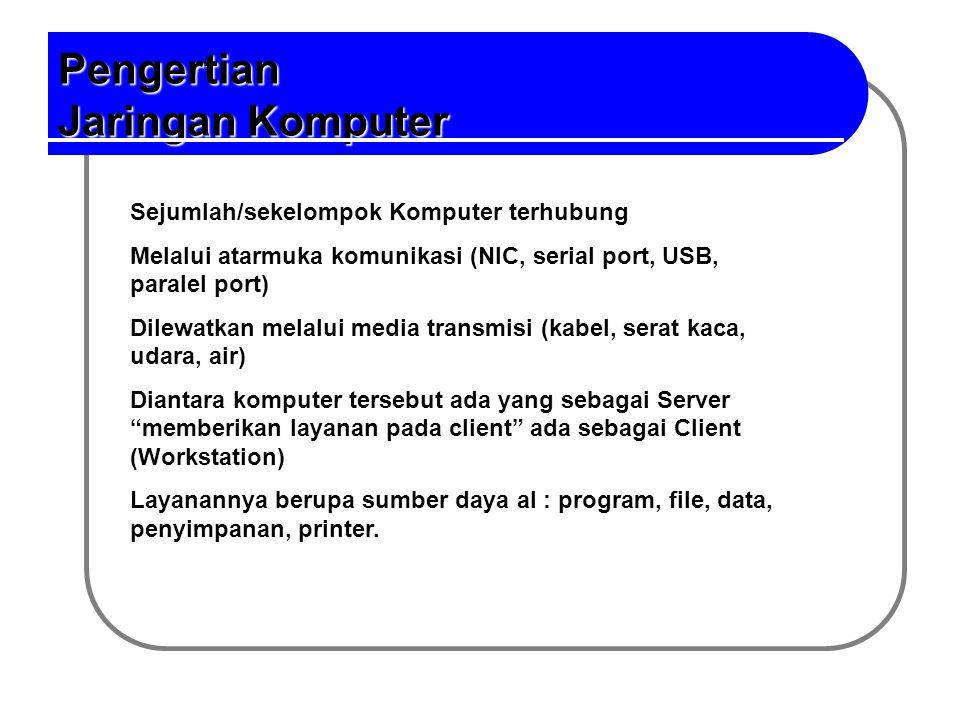 Pengertian Jaringan Pengertian Jaringan Komputer Sejumlah/sekelompok Komputer terhubung Melalui atarmuka komunikasi (NIC, serial port, USB, paralel po