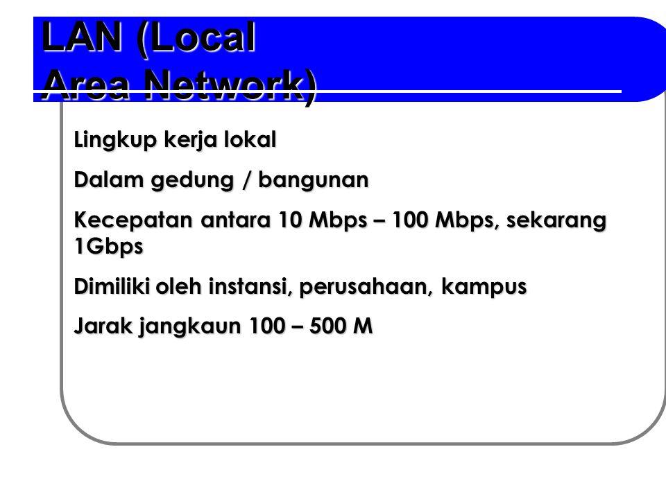 LAN (Local Area Network) Lingkup kerja lokal Dalam gedung / bangunan Kecepatan antara 10 Mbps – 100 Mbps, sekarang 1Gbps Dimiliki oleh instansi, perus