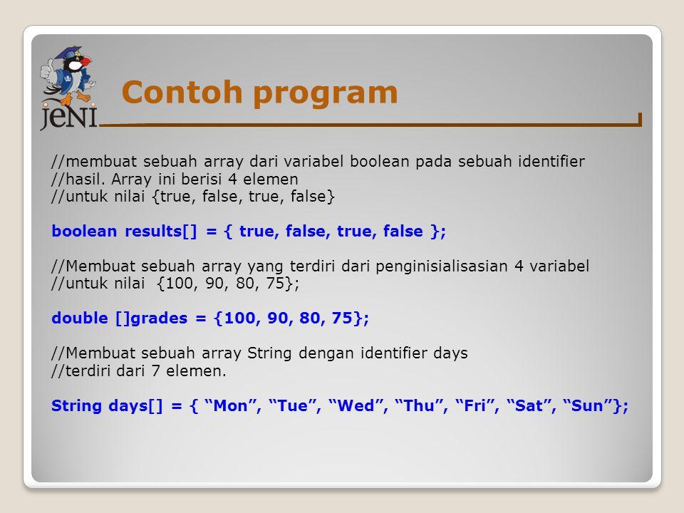 Contoh program //membuat sebuah array dari variabel boolean pada sebuah identifier //hasil. Array ini berisi 4 elemen //untuk nilai {true, false, true