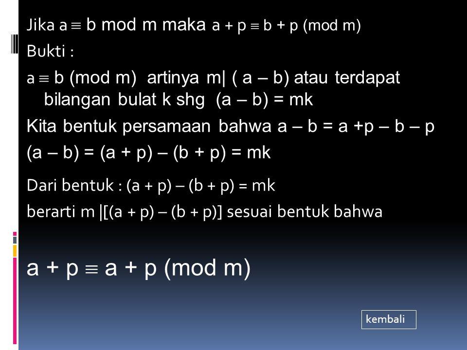 Jika a  b mod m, maka ap  bp mod m Bukti : a  b mod m ⇔ m | (a-b) Shg : (a – b) = mk, k bil.