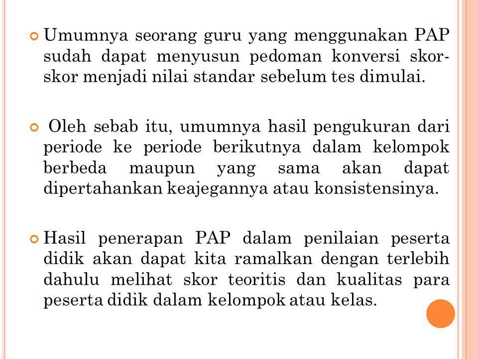 Umumnya seorang guru yang menggunakan PAP sudah dapat menyusun pedoman konversi skor- skor menjadi nilai standar sebelum tes dimulai. Oleh sebab itu,