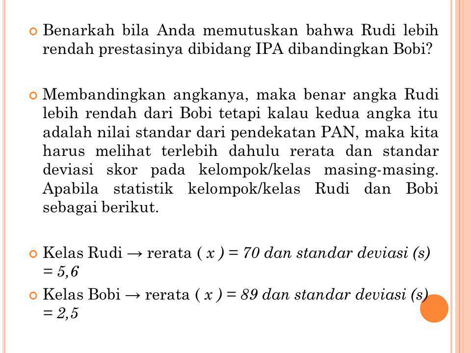 Benarkah bila Anda memutuskan bahwa Rudi lebih rendah prestasinya dibidang IPA dibandingkan Bobi? Membandingkan angkanya, maka benar angka Rudi lebih