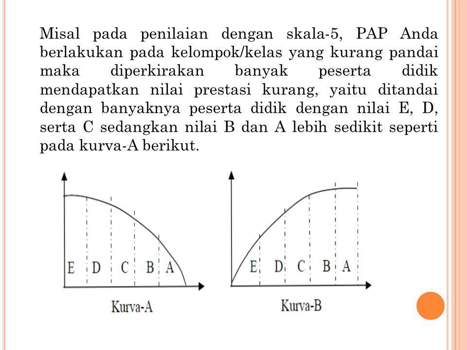 Misal pada penilaian dengan skala-5, PAP Anda berlakukan pada kelompok/kelas yang kurang pandai maka diperkirakan banyak peserta didik mendapatkan nil