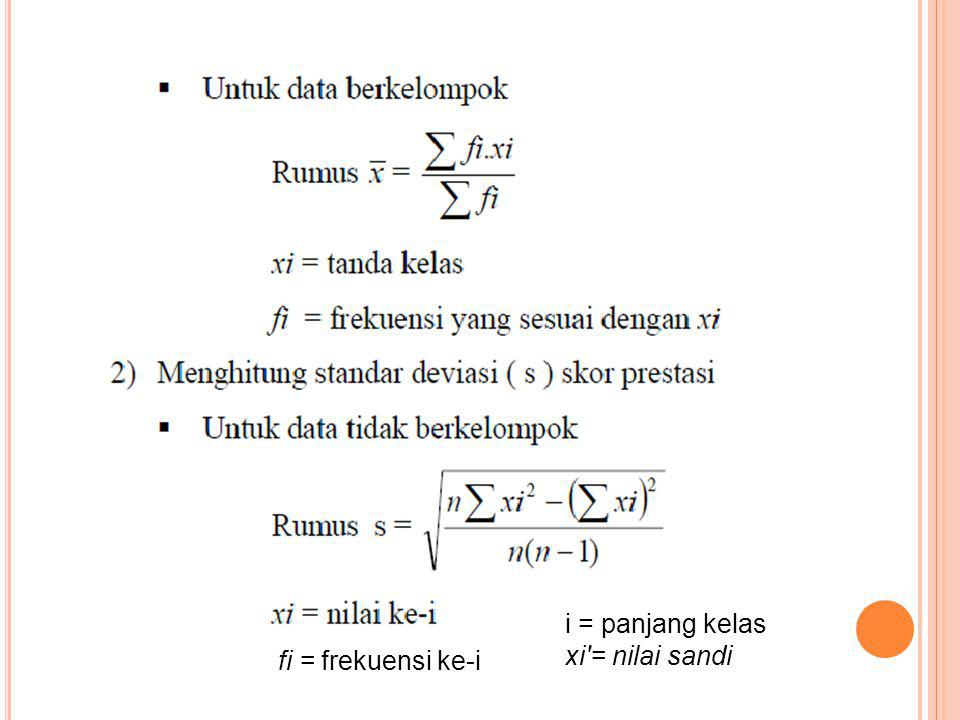 fi = frekuensi ke-i i = panjang kelas xi'= nilai sandi