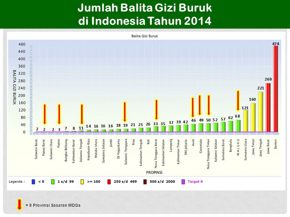 Jumlah Balita Gizi Buruk di Indonesia Tahun 2014 = 9 Provinsi Sasaran MDGs