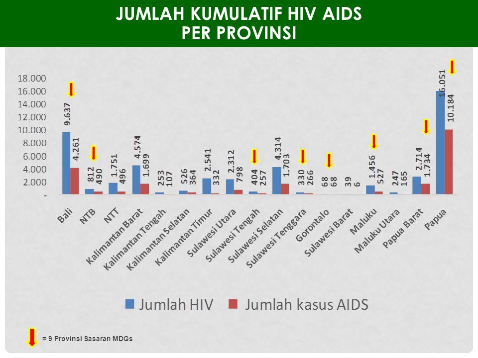 JUMLAH KUMULATIF HIV AIDS PER PROVINSI = 9 Provinsi Sasaran MDGs