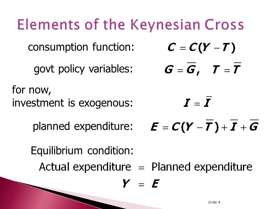slide 4 consumption function: for now, investment is exogenous: planned expenditure: Equilibrium condition: govt policy variables: