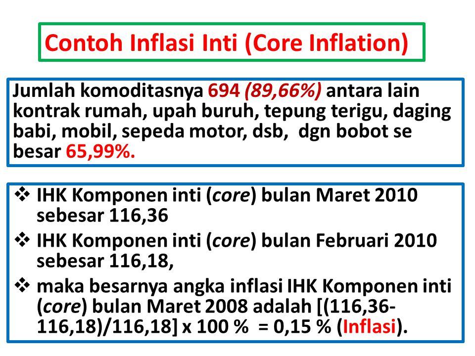 Contoh Inflasi Inti (Core Inflation) Jumlah komoditasnya 694 (89,66%) antara lain kontrak rumah, upah buruh, tepung terigu, daging babi, mobil, sepeda