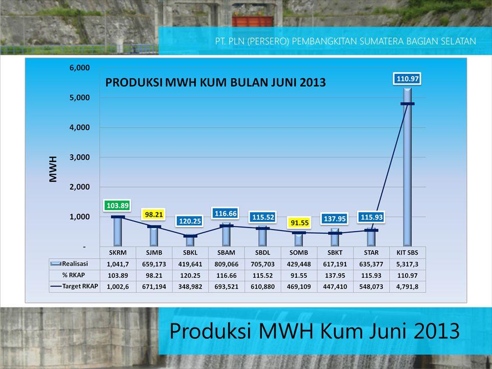 Produksi MWH Kum Juni 2013