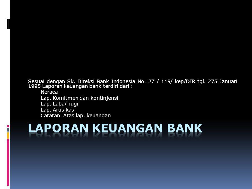 Sesuai dengan Sk. Direksi Bank Indonesia No. 27 / 119/ kep/DIR tgl. 275 Januari 1995 Laporan keuangan bank terdiri dari : Neraca Lap. Komitmen dan kon