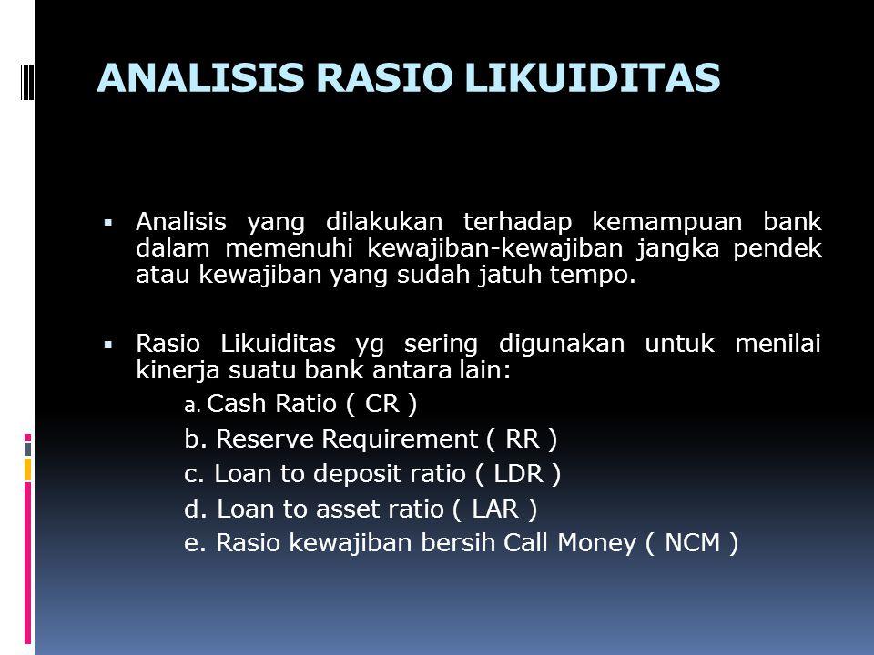 ANALISIS RASIO LIKUIDITAS  Analisis yang dilakukan terhadap kemampuan bank dalam memenuhi kewajiban-kewajiban jangka pendek atau kewajiban yang sudah