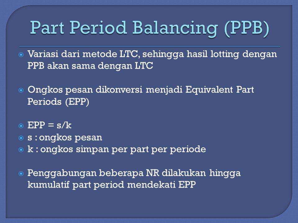  Variasi dari metode LTC, sehingga hasil lotting dengan PPB akan sama dengan LTC  Ongkos pesan dikonversi menjadi Equivalent Part Periods (EPP)  EPP = s/k  s : ongkos pesan  k : ongkos simpan per part per periode  Penggabungan beberapa NR dilakukan hingga kumulatif part period mendekati EPP