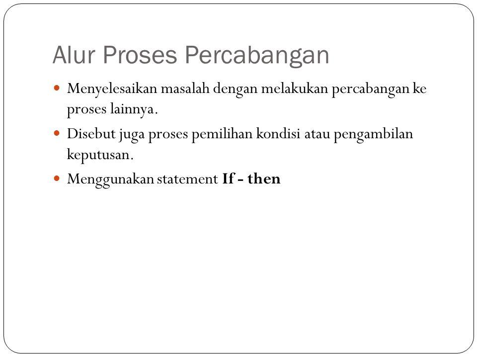 Alur Proses Percabangan Menyelesaikan masalah dengan melakukan percabangan ke proses lainnya.