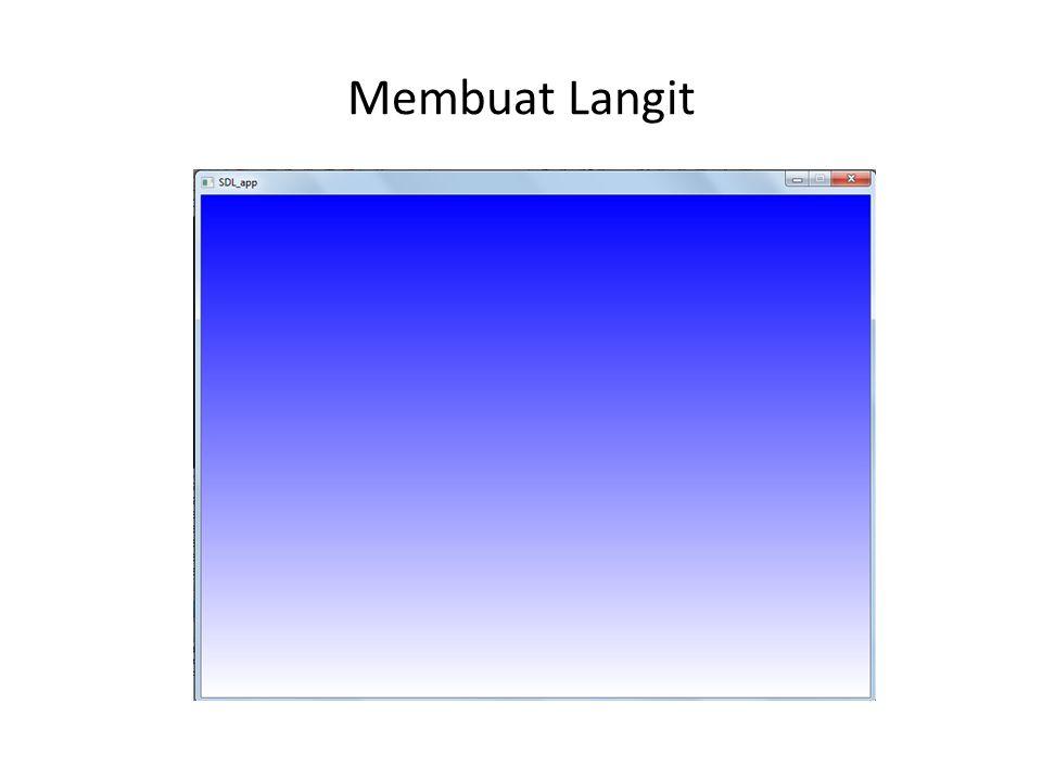 Membuat Gelembung Air // Menjalankan Gelembung air for(i=0;i<3;i++){ gelAir[i].y+=d[i]; if(gelAir[i].y>300){ gelAir[i].x=rand()%400; gelAir[i].y=10; d[i]=(float)(rand()%100)/100+0.5; } // Menggambar gelembung air dengan 3 buah lingkaran point2D_t p[90],p0; setColor(1,1,1); for(i=0;i<3;i++){ createCircle(p,gelAir[i],4,90); drawPolygon(p,90); p0.x=gelAir[i].x+7; p0.y=gelAir[i].y+6; createCircle(p,p0,5,90); drawPolygon(p,90); p0.x=gelAir[i].x-2; p0.y=gelAir[i].y+12; createCircle(p,p0,3,90); drawPolygon(p,90); }