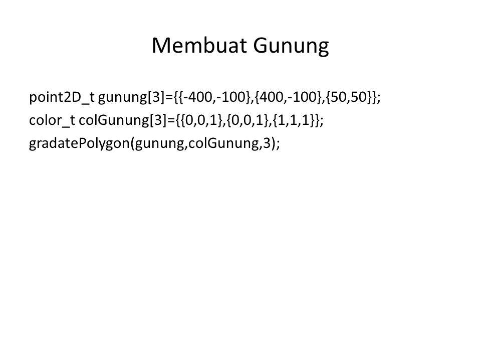 point2D_t gunung[3]={{-400,-100},{400,-100},{50,50}}; color_t colGunung[3]={{0,0,1},{0,0,1},{1,1,1}}; gradatePolygon(gunung,colGunung,3);
