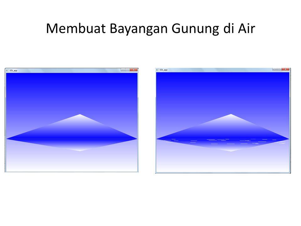 Membuat Efek Hujan : Membuat Langit dan Tanah // Membuat langit point2D_t langit[4]={{0,0},{400,0},{400,300},{0,300}}; color_t wLangit[4]={{1,1,1},{1,1,1},{0,0.1,0.5},{0,0.1,0.5}}; gradatePolygon(langit,wLangit,4); // Membuat tanah point2D_t tanah[5]={{0,0},{400,0},{400,50},{300,40},{0,35}}; color_t wTanah[5]={{0.5,0.2,0},{0.5,0.2,0},{1,0.9,0.5}, {1,0.9,0.5}, {0.7,0.5,0.1}}; gradatePolygon(tanah,wTanah,5);