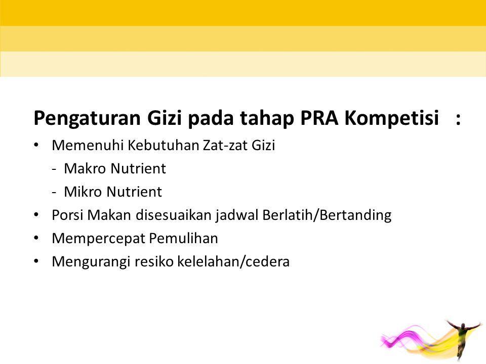 Pengaturan Gizi pada tahap PRA Kompetisi : Memenuhi Kebutuhan Zat-zat Gizi - Makro Nutrient - Mikro Nutrient Porsi Makan disesuaikan jadwal Berlatih/B