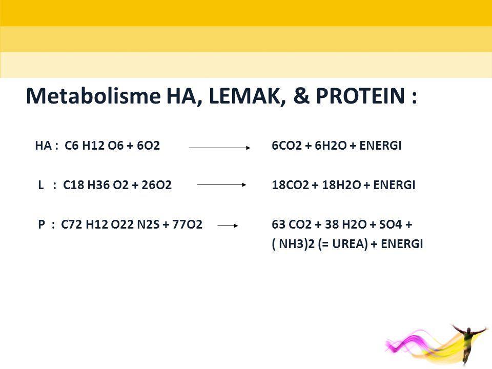 Metabolisme HA, LEMAK, & PROTEIN : HA : C6 H12 O6 + 6O2 6CO2 + 6H2O + ENERGI L : C18 H36 O2 + 26O218CO2 + 18H2O + ENERGI P : C72 H12 O22 N2S + 77O263