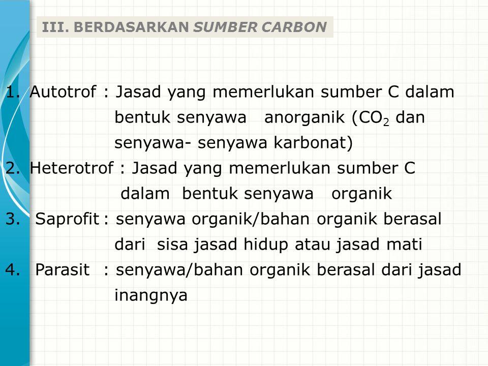 III. BERDASARKAN SUMBER CARBON 1.Autotrof: Jasad yang memerlukan sumber C dalam bentuk senyawa anorganik (CO 2 dan senyawa- senyawa karbonat) 2.Hetero