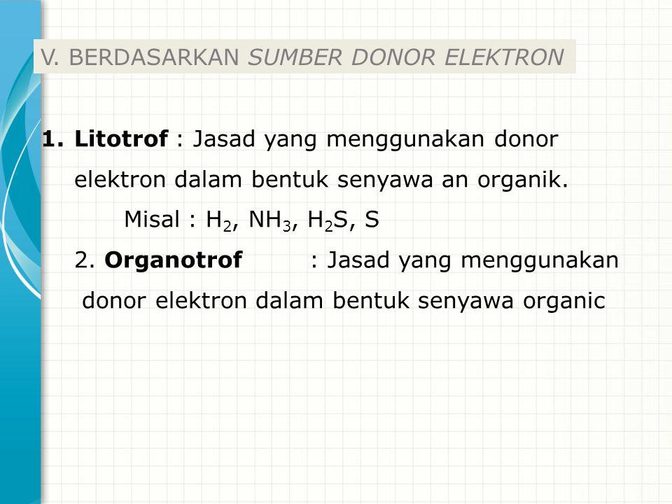 1.Litotrof: Jasad yang menggunakan donor elektron dalam bentuk senyawa an organik. Misal : H 2, NH 3, H 2 S, S 2. Organotrof: Jasad yang menggunakan d