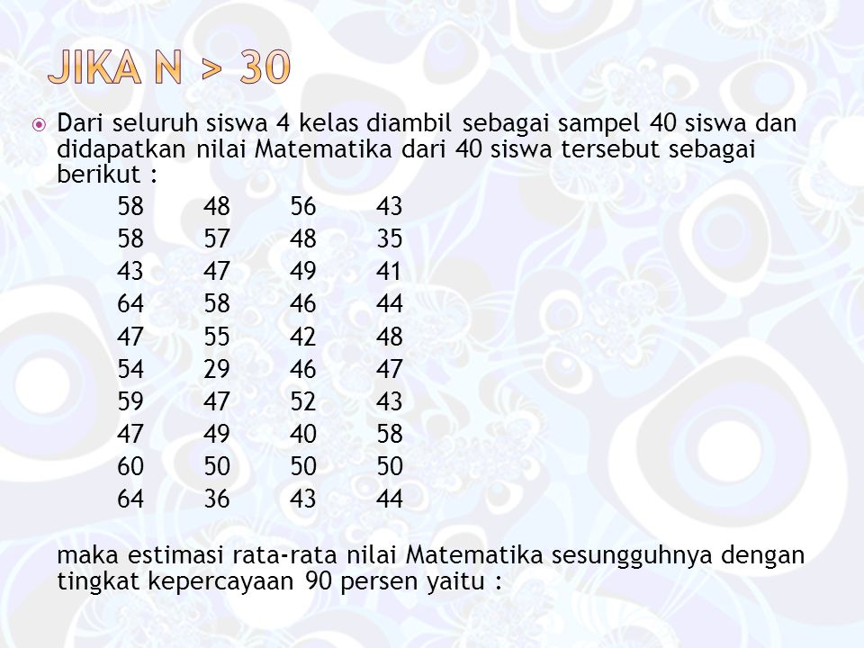  Dari seluruh siswa 4 kelas diambil sebagai sampel 40 siswa dan didapatkan nilai Matematika dari 40 siswa tersebut sebagai berikut : 58485643 58574835 43474941 64584644 47554248 54294647 59475243 47494058 60505050 64364344 maka estimasi rata-rata nilai Matematika sesungguhnya dengan tingkat kepercayaan 90 persen yaitu :