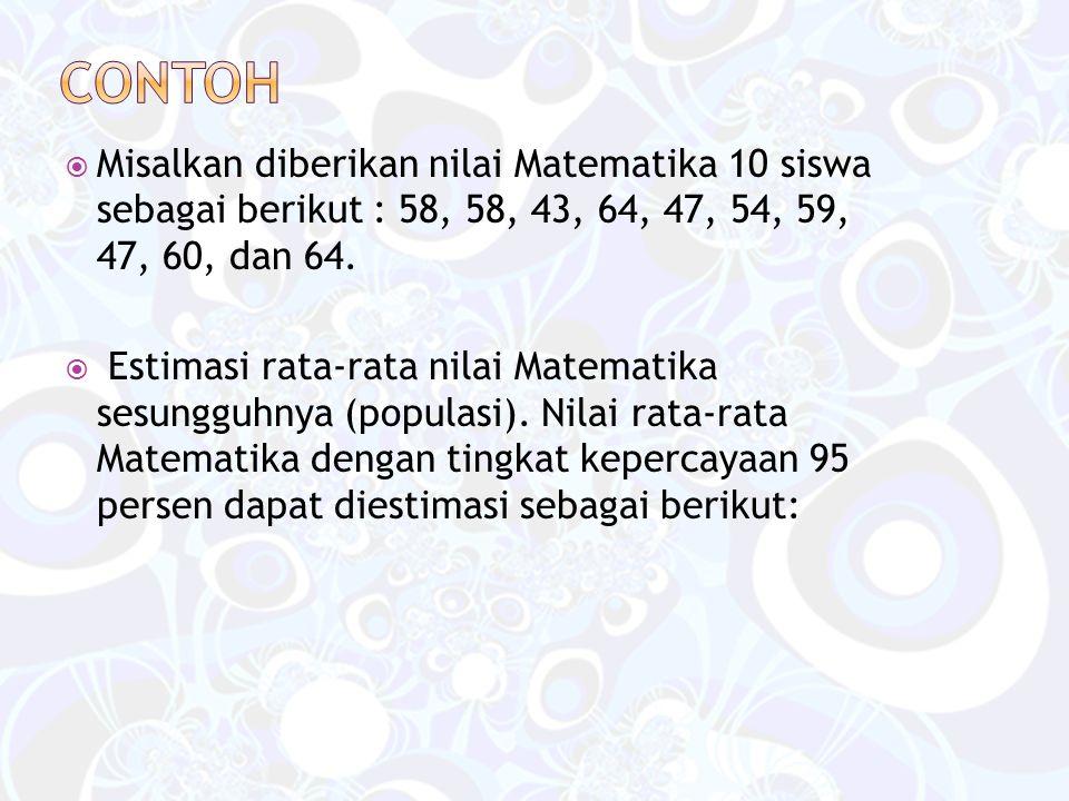  Misalkan diberikan nilai Matematika 10 siswa sebagai berikut : 58, 58, 43, 64, 47, 54, 59, 47, 60, dan 64.