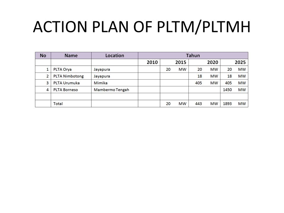 ACTION PLAN OF PLTM/PLTMH