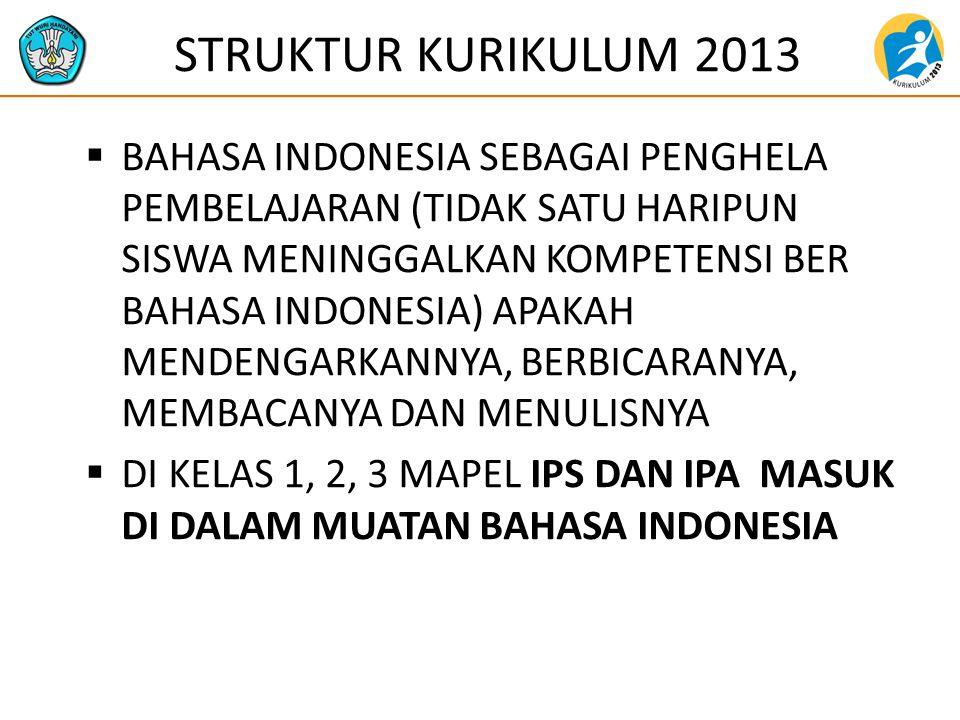 STRUKTUR KURIKULUM 2013  BAHASA INDONESIA SEBAGAI PENGHELA PEMBELAJARAN (TIDAK SATU HARIPUN SISWA MENINGGALKAN KOMPETENSI BER BAHASA INDONESIA) APAKAH MENDENGARKANNYA, BERBICARANYA, MEMBACANYA DAN MENULISNYA  DI KELAS 1, 2, 3 MAPEL IPS DAN IPA MASUK DI DALAM MUATAN BAHASA INDONESIA