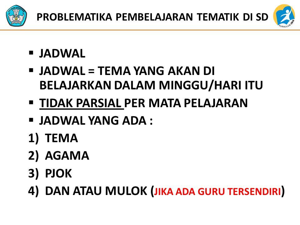 PROBLEMATIKA PEMBELAJARAN TEMATIK DI SD  JADWAL  JADWAL = TEMA YANG AKAN DI BELAJARKAN DALAM MINGGU/HARI ITU  TIDAK PARSIAL PER MATA PELAJARAN  JADWAL YANG ADA : 1)TEMA 2)AGAMA 3)PJOK 4)DAN ATAU MULOK ( JIKA ADA GURU TERSENDIRI )