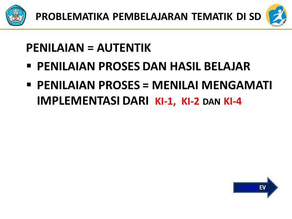 PROBLEMATIKA PEMBELAJARAN TEMATIK DI SD PENILAIAN = AUTENTIK  PENILAIAN PROSES DAN HASIL BELAJAR  PENILAIAN PROSES = MENILAI MENGAMATI IMPLEMENTASI DARI KI-1, KI-2 DAN KI-4 FORMAT EV