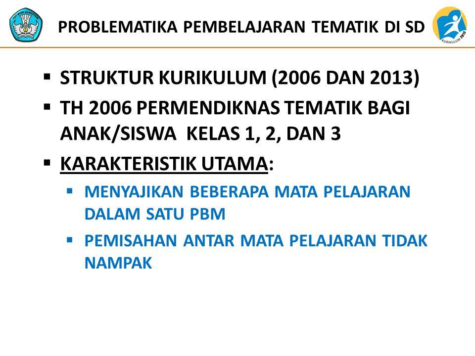 PROBLEMATIKA PEMBELAJARAN TEMATIK DI SD  STRUKTUR KURIKULUM (2006 DAN 2013)  TH 2006 PERMENDIKNAS TEMATIK BAGI ANAK/SISWA KELAS 1, 2, DAN 3  KARAKTERISTIK UTAMA:  MENYAJIKAN BEBERAPA MATA PELAJARAN DALAM SATU PBM  PEMISAHAN ANTAR MATA PELAJARAN TIDAK NAMPAK
