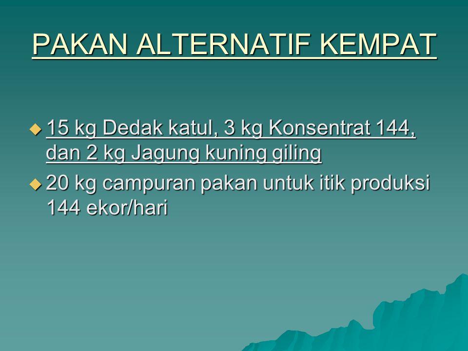 PAKAN ALTERNATIF KEMPAT  15 kg Dedak katul, 3 kg Konsentrat 144, dan 2 kg Jagung kuning giling  20 kg campuran pakan untuk itik produksi 144 ekor/ha