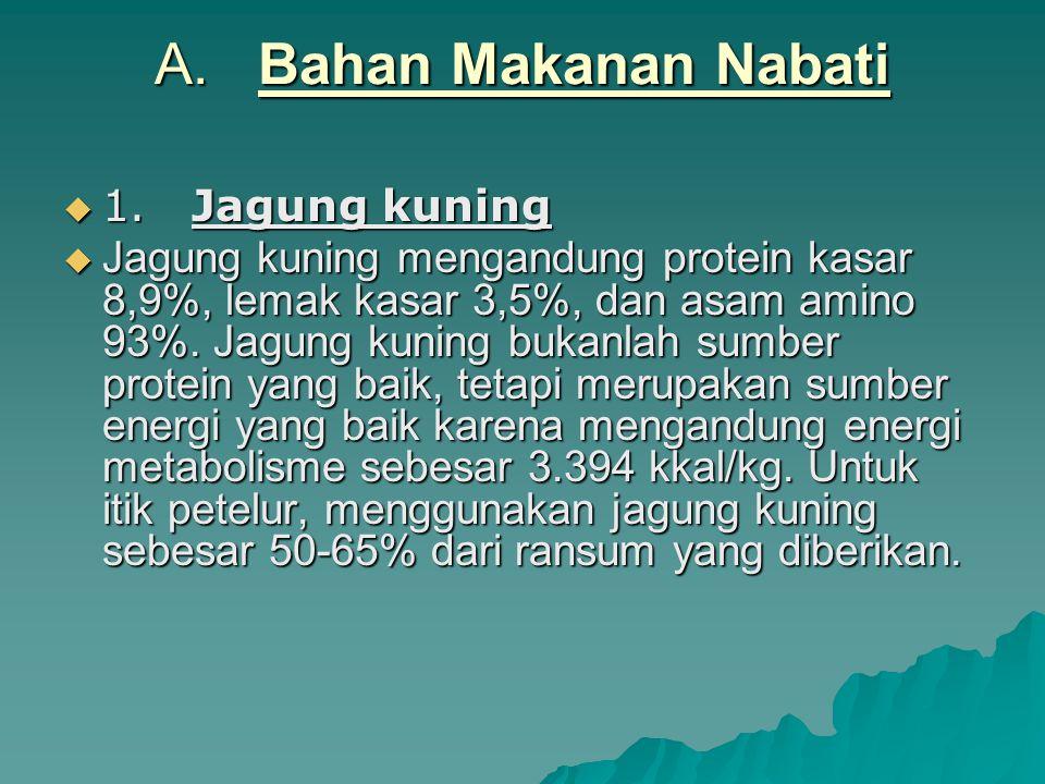 A. Bahan Makanan Nabati  1. Jagung kuning  Jagung kuning mengandung protein kasar 8,9%, lemak kasar 3,5%, dan asam amino 93%. Jagung kuning bukanlah