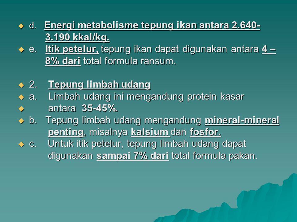  d. Energi metabolisme tepung ikan antara 2.640- 3.190 kkal/kg. 3.190 kkal/kg.  e. Itik petelur, tepung ikan dapat digunakan antara 4 – 8% dari tota