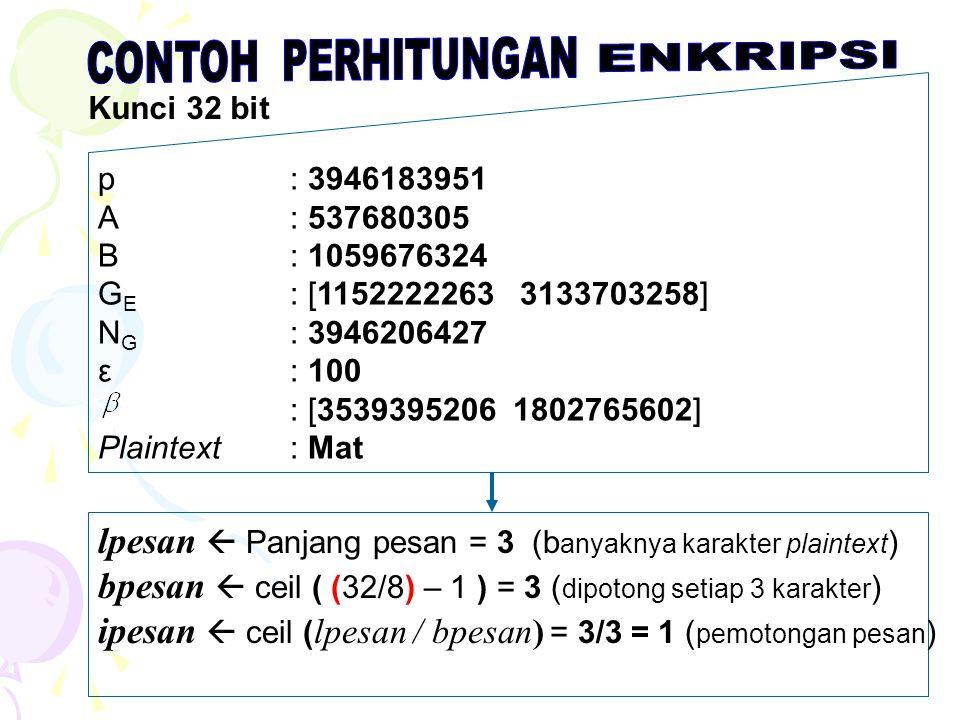 p: 3946183951 A: 537680305 B: 1059676324 G E : [1152222263 3133703258] N G : 3946206427 ε : 100 : [3539395206 1802765602] Plaintext: Mat Kunci 32 bit lpesan  Panjang pesan = 3 (b anyaknya karakter plaintext ) bpesan  ceil ( (32/8) – 1 ) = 3 ( dipotong setiap 3 karakter ) ipesan  ceil ( lpesan / bpesan) = 3/3 = 1 ( pemotongan pesan )