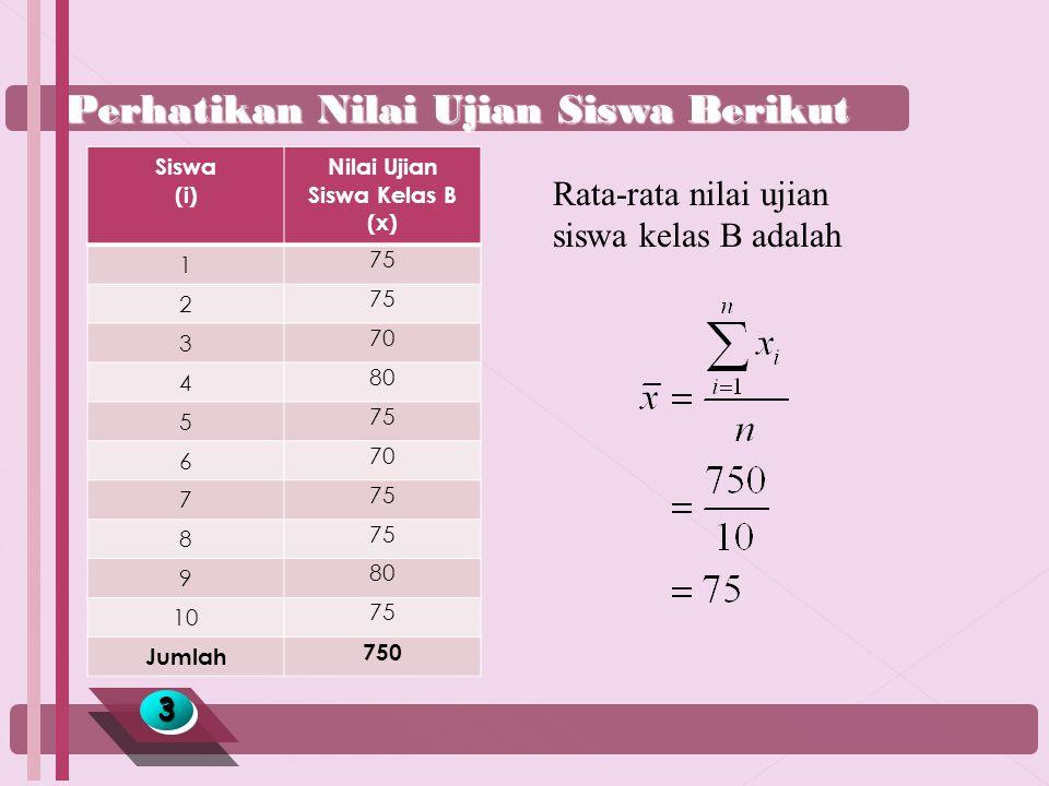 Perhatikan Nilai Ujian Siswa Berikut 33 Rata-rata nilai ujian siswa kelas B adalah Siswa (i) Nilai Ujian Siswa Kelas B (x) 1 75 2 3 70 4 80 5 75 6 70 7 75 8 9 80 10 75 Jumlah 750