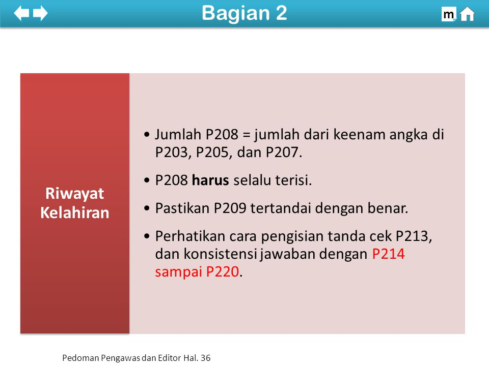 Jumlah P208 = jumlah dari keenam angka di P203, P205, dan P207.