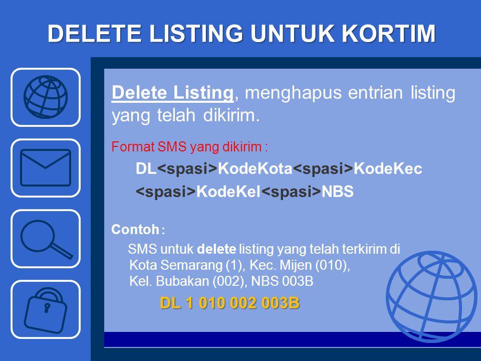 DELETE LISTING UNTUK KORTIM Delete Listing, menghapus entrian listing yang telah dikirim. Format SMS yang dikirim : DL KodeKota KodeKec KodeKel NBS Co