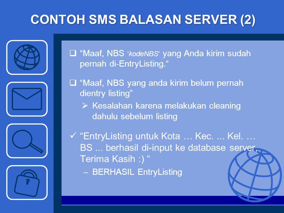 "CONTOH SMS BALASAN SERVER (2)  ""Maaf, NBS 'kodeNBS' yang Anda kirim sudah pernah di-EntryListing.""  ""Maaf, NBS yang anda kirim belum pernah dientry"