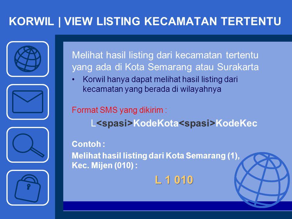 KORWIL | VIEW LISTING KECAMATAN TERTENTU Melihat hasil listing dari kecamatan tertentu yang ada di Kota Semarang atau Surakarta Korwil hanya dapat mel