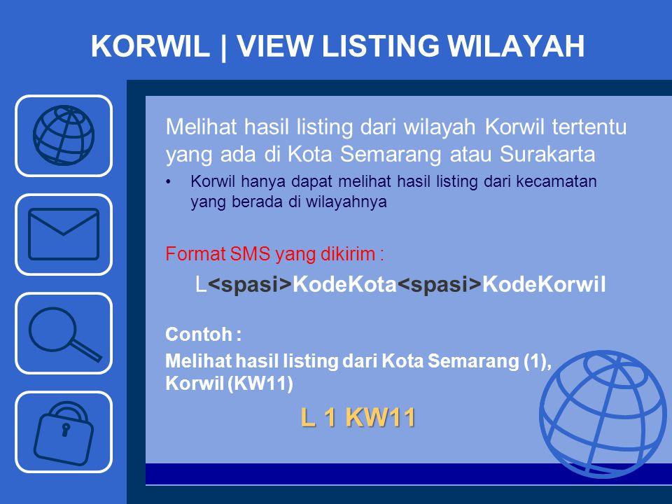 KORWIL | VIEW LISTING WILAYAH Melihat hasil listing dari wilayah Korwil tertentu yang ada di Kota Semarang atau Surakarta Korwil hanya dapat melihat h