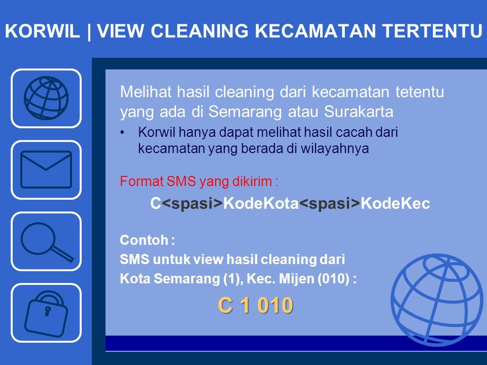KORWIL | VIEW CLEANING KECAMATAN TERTENTU Melihat hasil cleaning dari kecamatan tetentu yang ada di Semarang atau Surakarta Korwil hanya dapat melihat