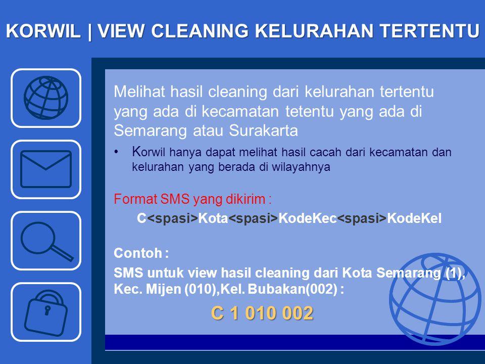 KORWIL | VIEW CLEANING KELURAHAN TERTENTU Melihat hasil cleaning dari kelurahan tertentu yang ada di kecamatan tetentu yang ada di Semarang atau Surak