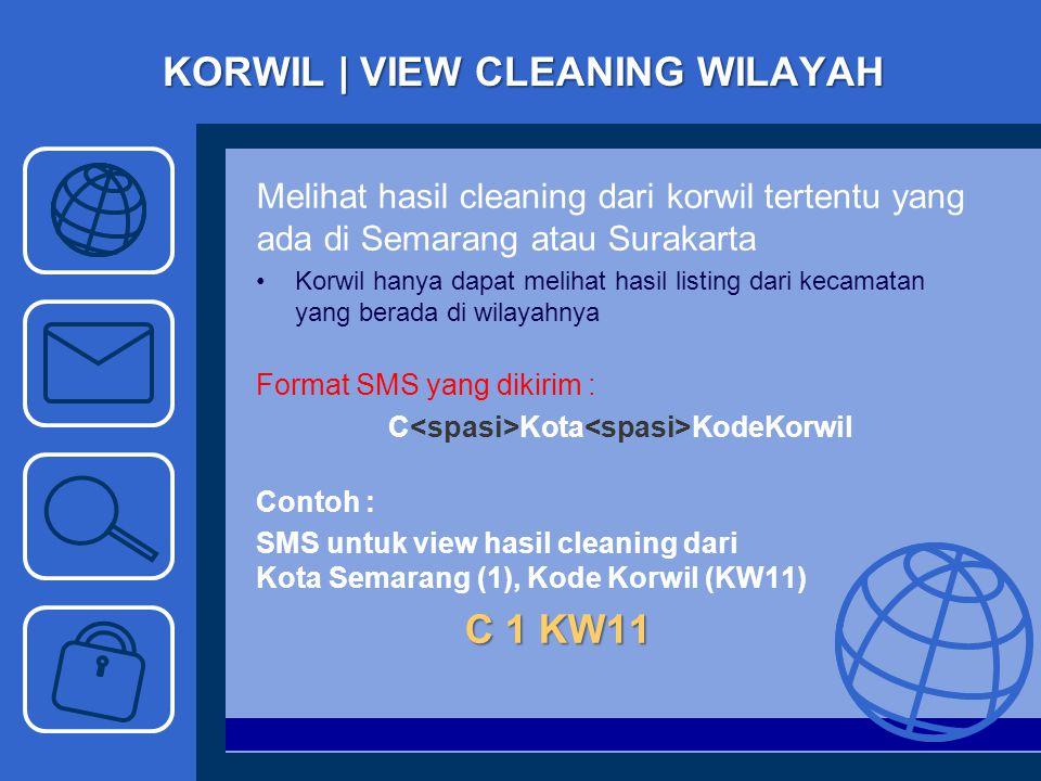 KORWIL | VIEW CLEANING WILAYAH Melihat hasil cleaning dari korwil tertentu yang ada di Semarang atau Surakarta Korwil hanya dapat melihat hasil listin