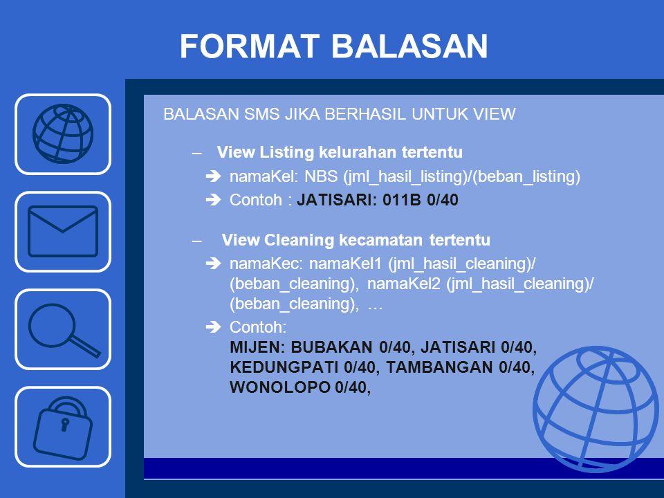 FORMAT BALASAN BALASAN SMS JIKA BERHASIL UNTUK VIEW –View Listing kelurahan tertentu  namaKel: NBS (jml_hasil_listing)/(beban_listing)  Contoh : JAT